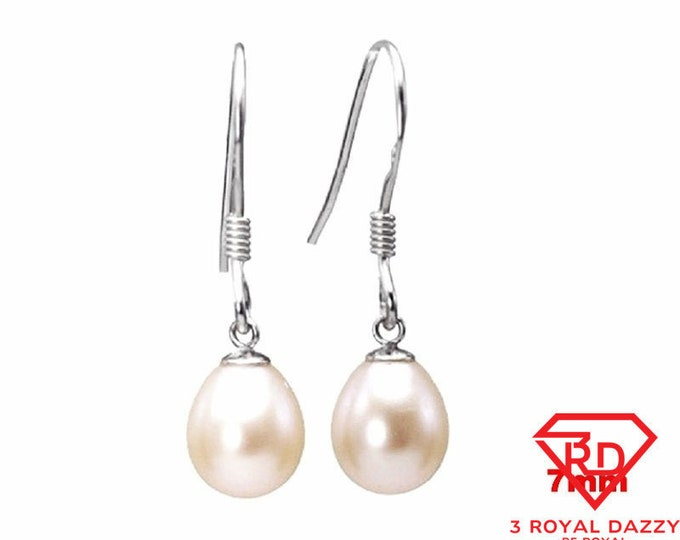 7mm Sterling Silver AAA Hanging Dangling Freshwater Pearl White Fishhook Earrings