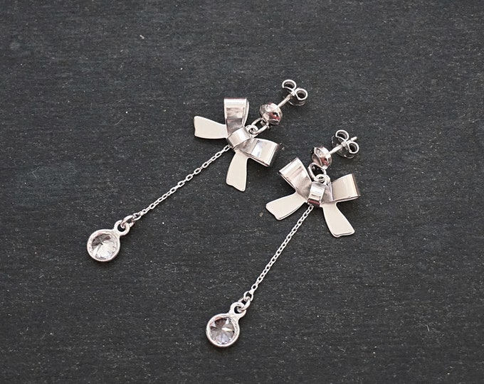 New 14k White Gold on 925 Sterling Silver Fashion CZ Bow Drop Earrings ( 1 8 . 6 mm )