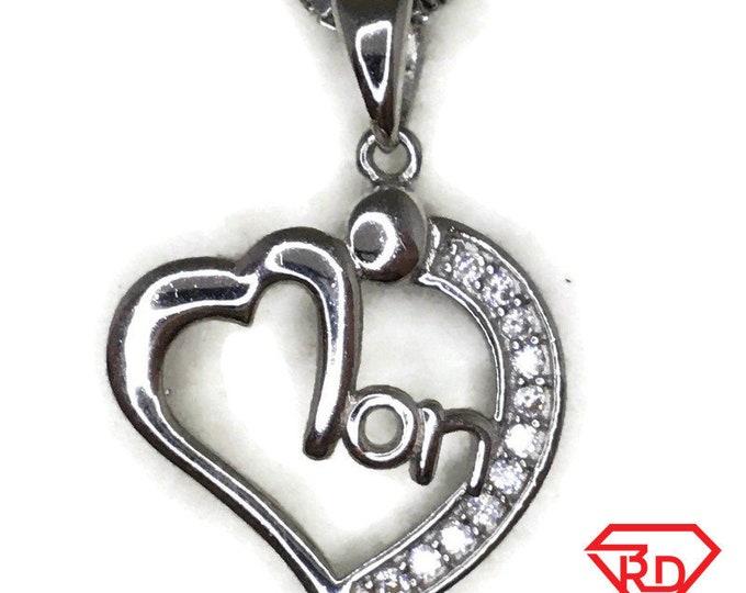 Cubic Zirconia Mon Heart charm pendant white gold on silver
