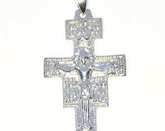 Brand New 925 Solid Sterling Silver Large Pendant with Jesus Crucifixion Artistic Cross