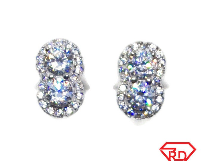 White gold on Silver Stud Earrings double circle white round CZ