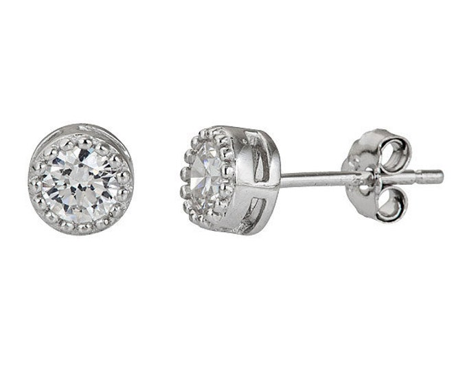 Small Round Cut CZ .925 Sterling Silver Unisex Earrings