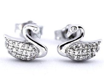 Beautiful Sterling Silver Swan Earrings