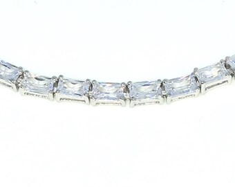 New White Gold Layered 925 Solid Sterling Silver 7 inch 4 Prong Emerald White CZ Tennis Bracelet with Box Clasp