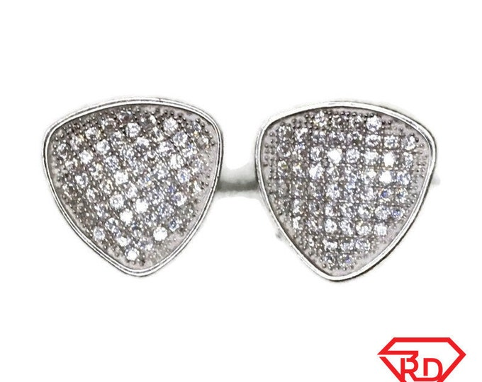New white gold on 925 silver studs earrings medium round triangle