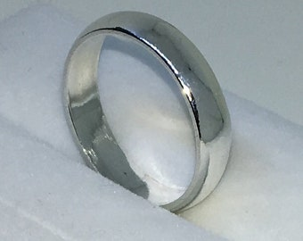 4 . 0mm Size 8 . 5 New Handmade Plain Slim . 990 Solid Silver Ring Band