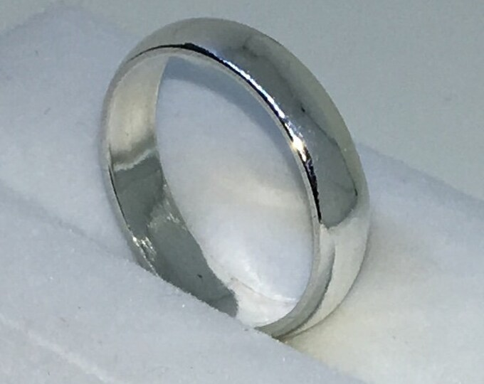 4 . 5mm Size 8 New Handmade Plain Slim . 990 Solid Silver Ring Band