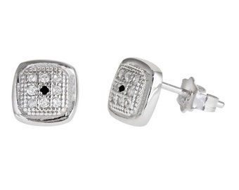 white gold layer on Square style micro pave CZ .925 Sterling Silver Stud men's earrings