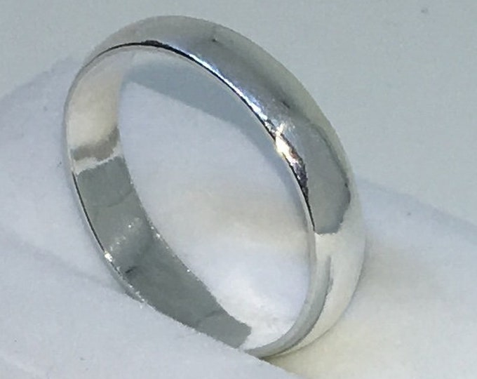 4 . 3mm Size 9 . 25 New Handmade Plain Slim . 990 Solid Silver Ring Band