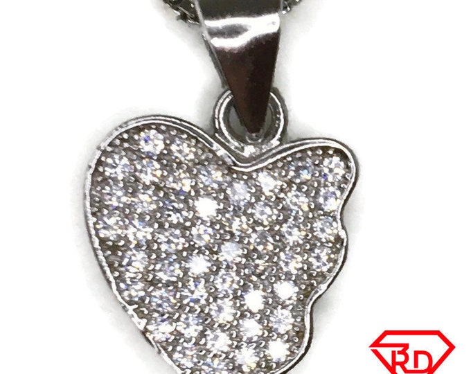Cubic Zirconia broken heart charm pendant white gold on silver