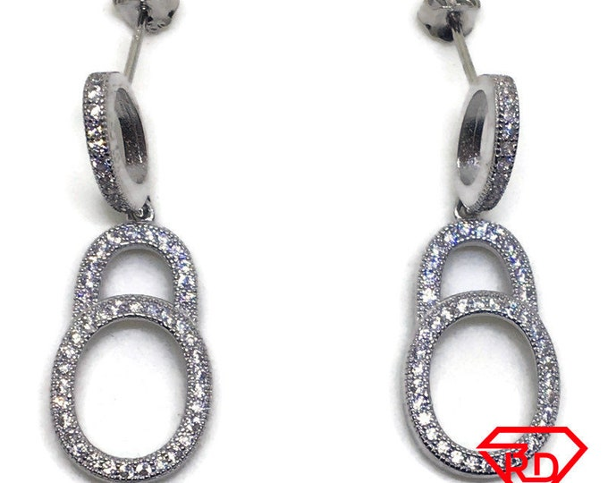 White round CZ hollow circle dangle Earrings white gold layer