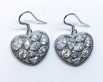 14K White Gold on Sterling Silver Dangling Heart Shaped Earrings