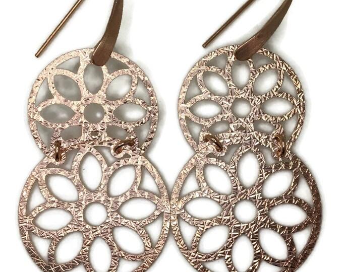 Dangle Drop earrings artistic flower rose gold on silver