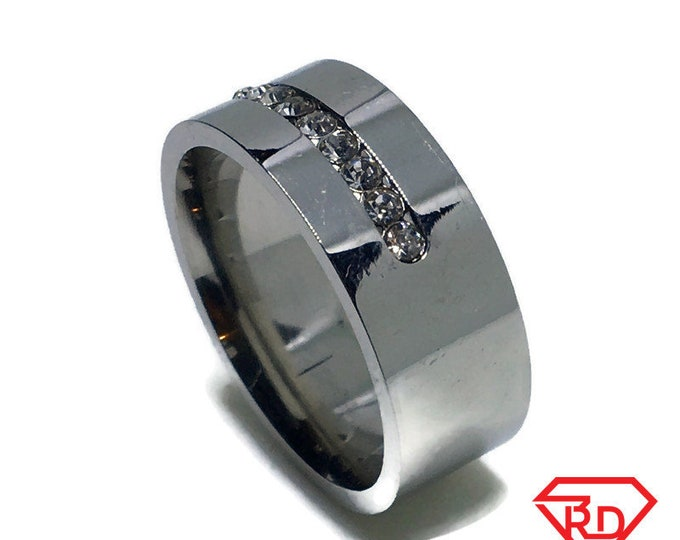 7 . 9 mm Brand New White Gold Plated with White Gems in Center on Stainless Steel ring band