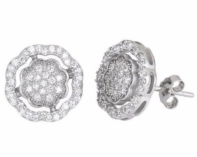 New timeless flower design .925 sterling silver micro pave cz women earrings