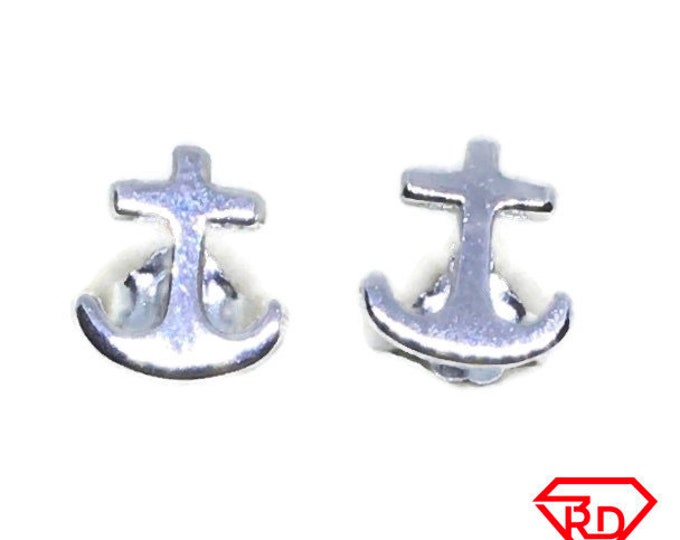 Tiny ship anchor stud Earrings White gold layer