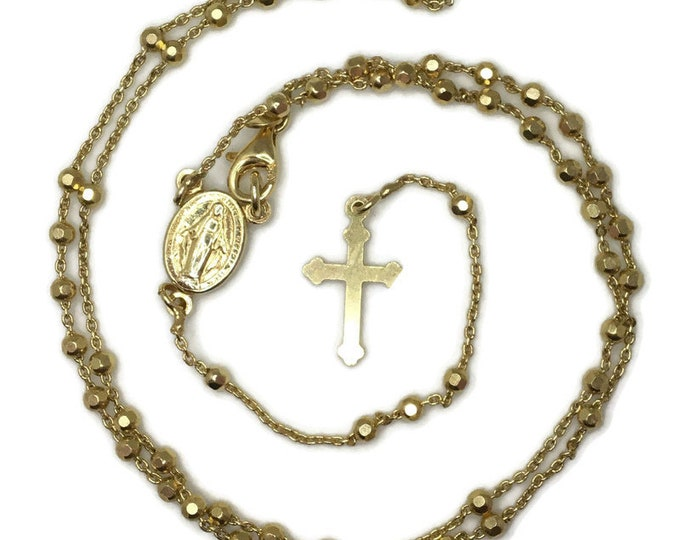 Rosary disco beads and cross on Yellow gold layer solid silver