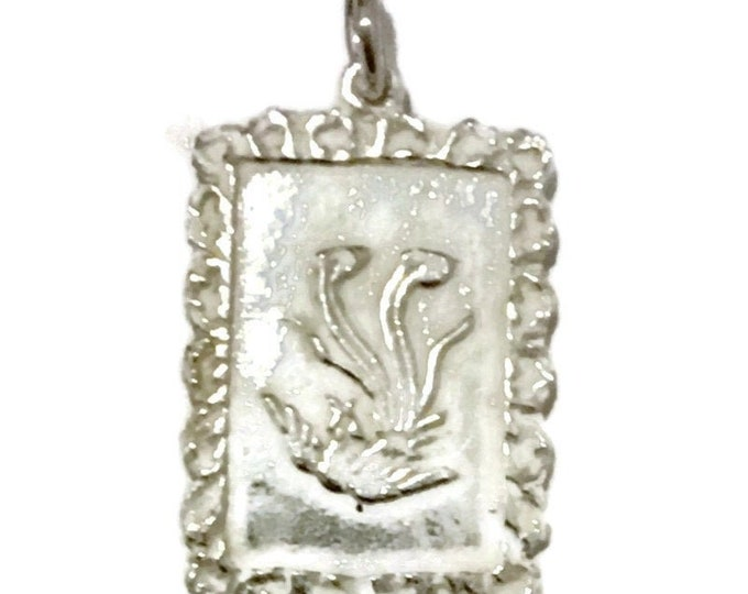 Brand New Silver Pendant rectangle shape with phoenix ( 15 . 2 mm )