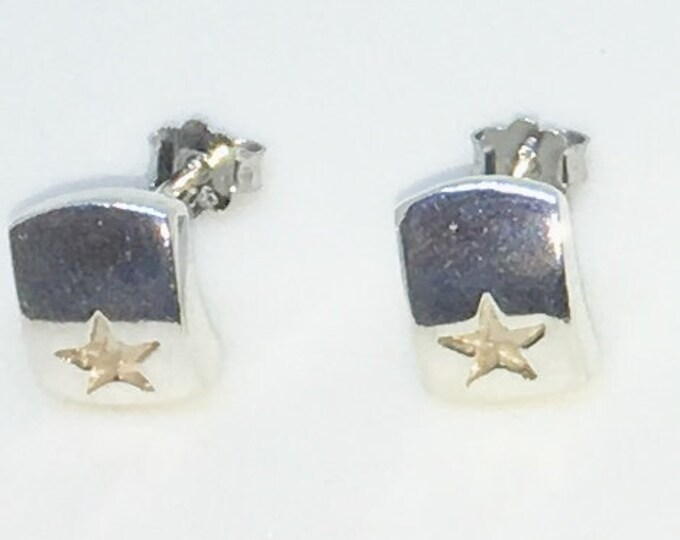 New Handcraft Curved Plate with Star on 925 Solid Sterling Silver Stud Earrings ( 7 . 3 mm )