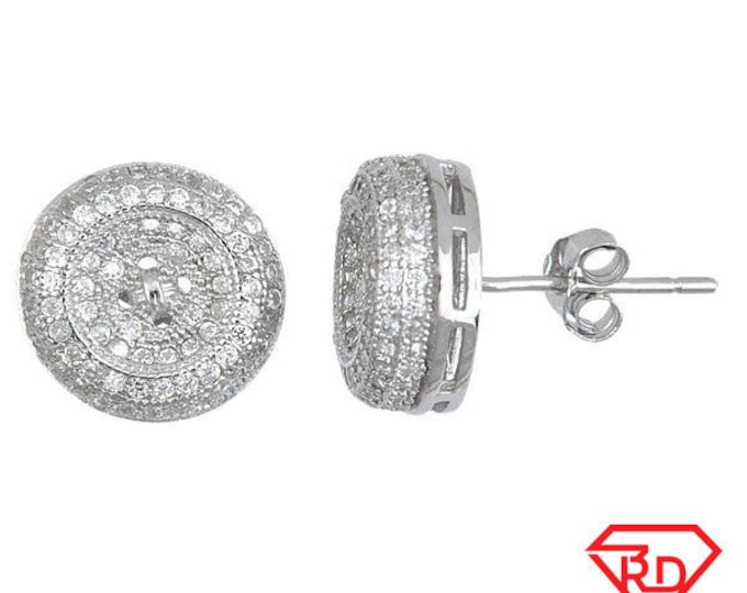 Splendid Round Button Shaped .925 Sterling Silver Micro Pave CZ Stud Earrings