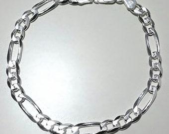 "Men Women Children Sterling Silver Italian Figaro Link Chain Bracelet 6.5mm 7"""
