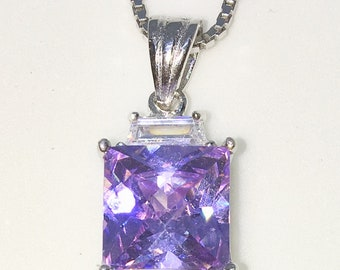 New White Gold on 925 Sterling Silver Pendant Square Birthstone with princess cut Pink CZ and Silver 16 Inch Chain ( 9 . 6 mm )