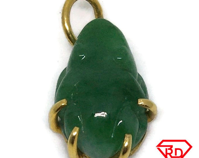 Tiny Frog Green Jade charm pendant 14k Solid Yellow gold