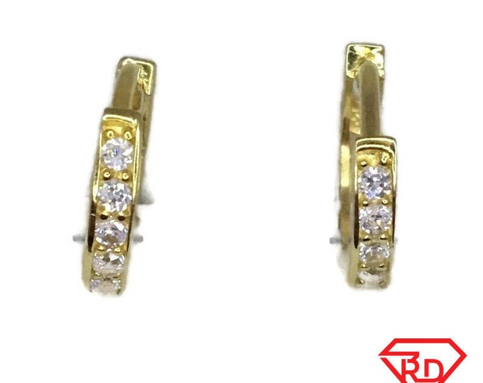 Brand New Yellow gold on 925 Silver Hoop Earrings Small Circle with white round CZ ( 13 . 0 mm )