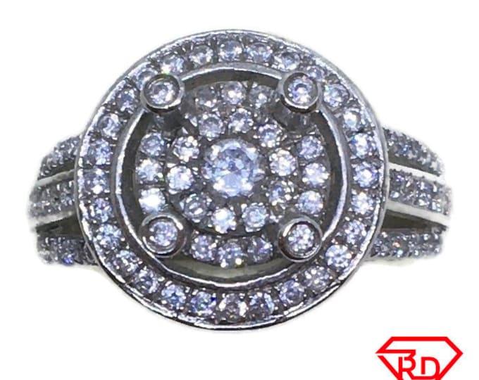 Cufflink style round CZ Ring 14k white gold on Silver (size 6)