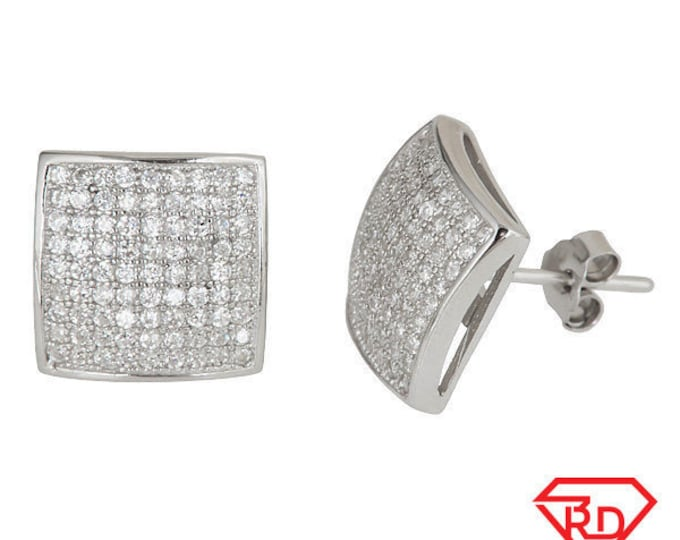 Square Micro Pave .925 Sterling Silver Stud Fashion Earrings Unisex