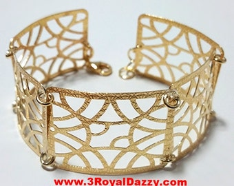 14k Yellow Gold Layer on 925 Silver Bracelet 3RoyalDazzy.com Handmade Exclusive-10