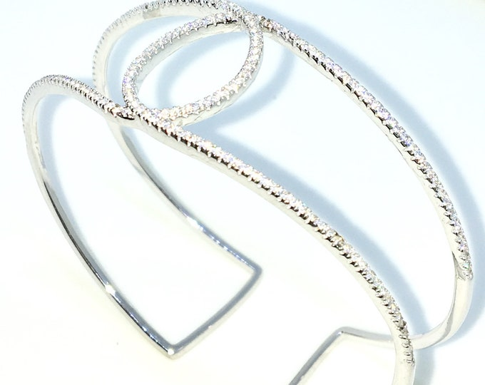 New White Gold Layered on 925 Solid Sterling Silver Bangle Bracelets O shape circle rows white round CZ slip on