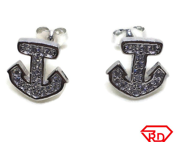 Small Ship anchor with white CZ stud Earrings White gold layer