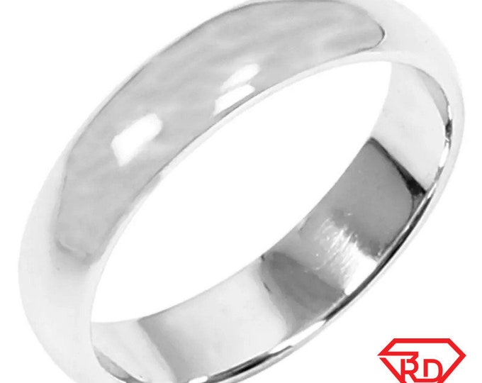 5 . 6mm Size 4 . 5 - Handmade solid 990 Silver high polished glossy plain wedding Ring Band