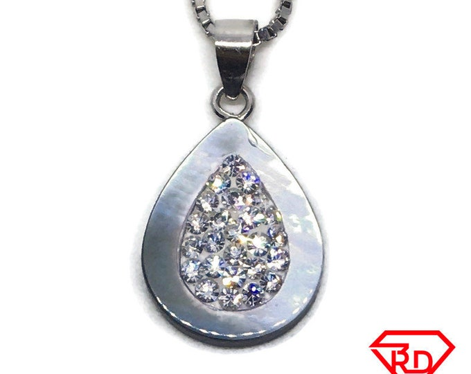 Teardrop seashell & CZ Tiny charm pendant White gold on Silver