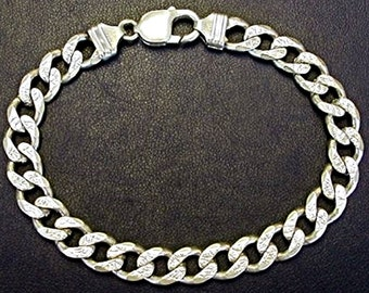 """New Solid HEAVY & THICK Pave Curb 925 Anti-Tarnish Silver BRACELET - 9mm 8"""""""