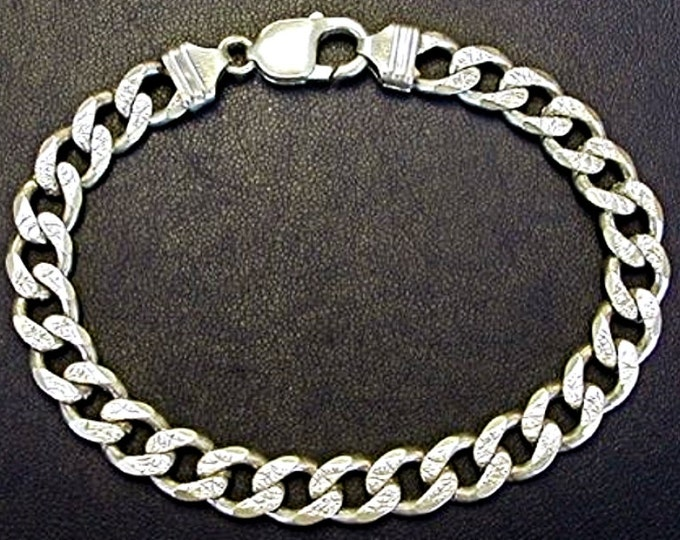 New Solid HEAVY & THICK Pave Curb 925 Anti-Tarnish Silver BRACELET - 9mm 8""