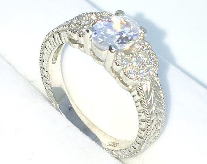 New Handcraft White Gold Plated on Silver engagement ring band