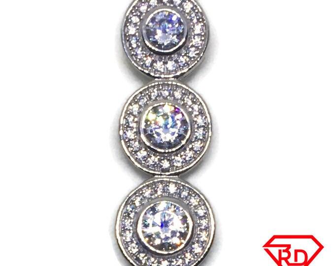 Triple Round Halo with white CZ pendant white gold Layer