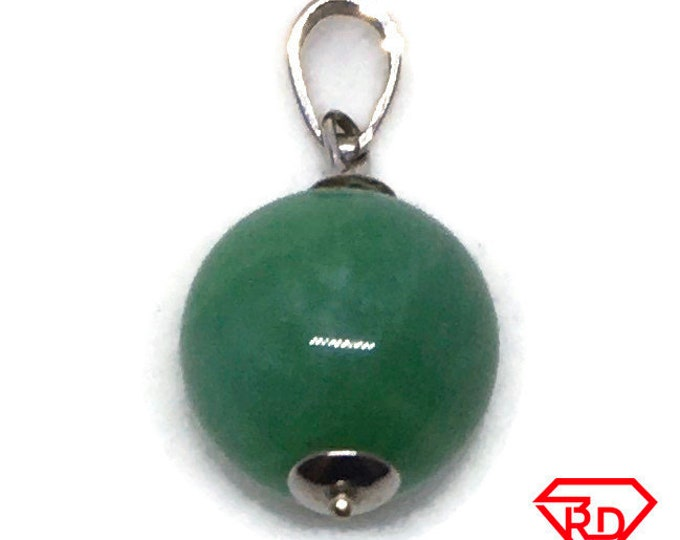 Round Bead Green Jade charm pendant 14k Solid White gold