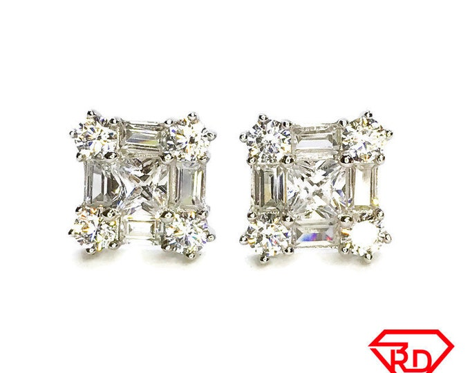 NEW .925 Sterling Silver Square with Stones Stud Earrings