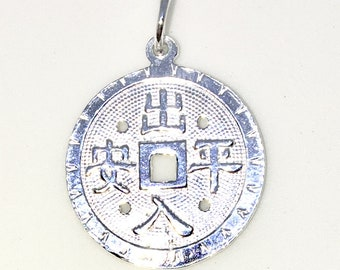 Brand New 925 Solid Sterling Silver Medium Pendant with Circle symbol and good fortune chinese letters