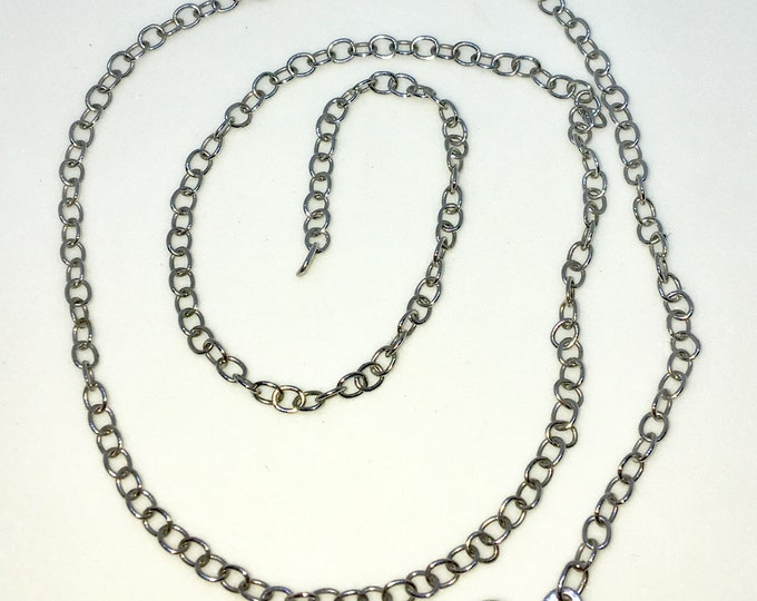 Brand New White Gold on 925 Solid Sterling Silver 18 inch Smooth Round Rolo Chain Necklace with Lobster Claw Clasp