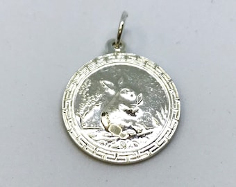 NEW .990 Sterling Silver Year of the Rabbit Lucky Pendant