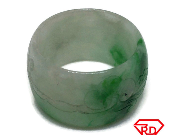 Smooth Inscriptions Round Light green jade ring Band (Size 9)