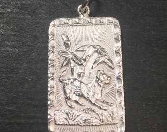 """Medium Size New 925 silver Reversible Design Chinese character writing """"Lucky"""" &  Year is the Dog Zodiac Charm Pendant"""