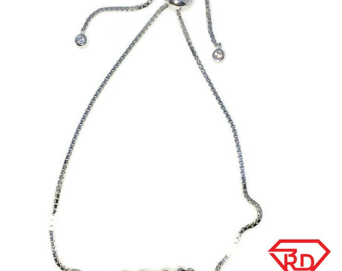 Brand New White Gold on 925 Solid Sterling Silver Row of hearts Adjustable Pulley Cube chain Bracelet