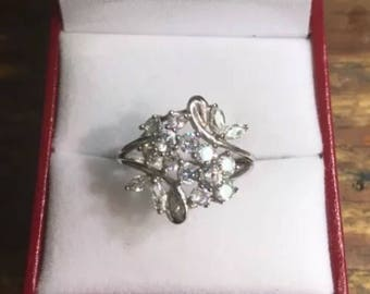 14k White Gold Layer On Sterling Silver Cubic Zirconia Butterfly ring