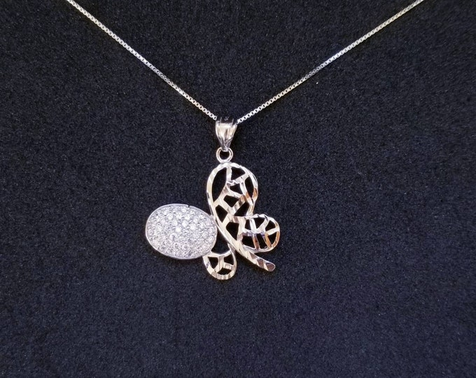 New 14k White Gold On 925 Sterling Silver Cute Butterfly CZ Stones Pendant Free Chain