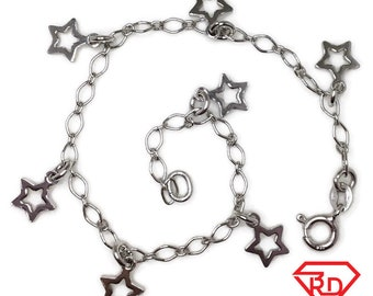 Charm Bracelet Hollow stars white gold on silver